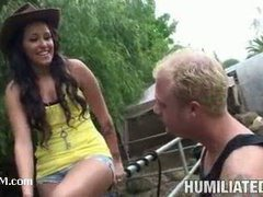 A luscious teen cowgirl humiliated by a perverted farmer