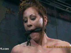 A masochistic slut plays bondage roulette