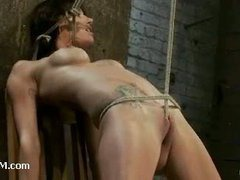 A luxurious hottie cums hard in predicament bondage