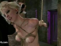 A lascivious girlie gets her amazing natural tits bound cruelly