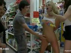 A hot blond MILF used as a common slut in the 99 cent store