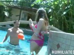 A bound girlie disgracefully fucked at the pool