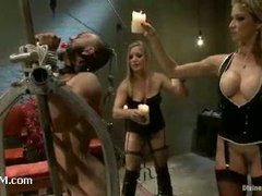 Two stunning mistresses push male sub to his limits