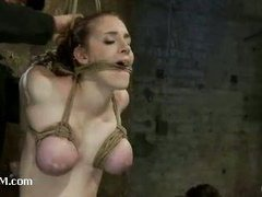 A busty slut gets her tits bound in category 5 suspension