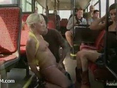A blonde slut humiliatingly butt fucked on a public city bus