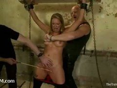 A tattooed pain whore nearly passes out from severe caning