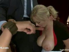 A hot wife sexually punished in front of a busty servant