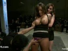 A hot mistress put on the receiving end in a kinky gang bang