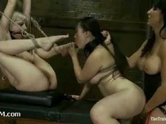 An asian slave trainee learning to worship pussy and process pain