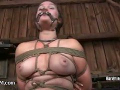 A puffy slut caned to tears and left to suffer outside