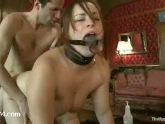 Sadistic masters playing with sexy trained slave girls