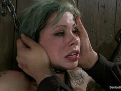 A tattooed slut suffering from brutal nonstop orgasms