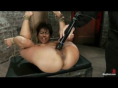 A tough asian MILF turned into a squirting cum machine