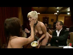 A blond cutie used as a common slut at a kinky dinner party