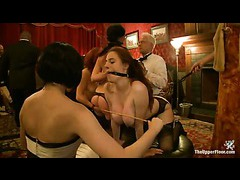 The finest slaves serving kinky crowd at Topless Tapas party