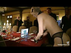 Sadistic guests playing with trained house slaves
