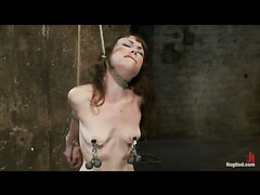 A skinny whore tied in a brutal predicament and double dominated