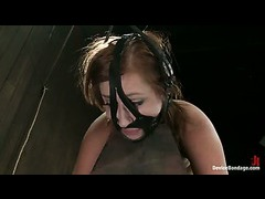 A pain slut strapped to the horse, clipped and caned