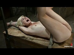 Blond beauty Chloe Camilla squirts in bondage for the first time