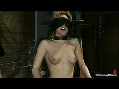 A blond slave trainee dealing with her fear of electricity