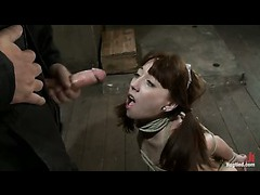 A petite teen tied up to have her pretty face fucked