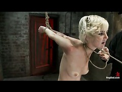 A blond cutie tied in a brutal strappado and flogged ruthlessly