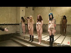 Seven slave wannabes begin training at the Armory basement