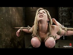 A helplessly bound MILF cries from extreme orgasms
