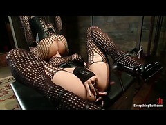 Two sexy sluts in fishnets sharing a cock in anal domination scene