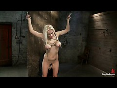 A busty bondage first-timer has her boobs tied and clamped