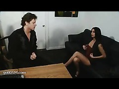 A sexy applicant tied up and fucked during the interview