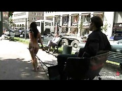 A sexy brunette works as a nude rickshaw and gets her ass fucked