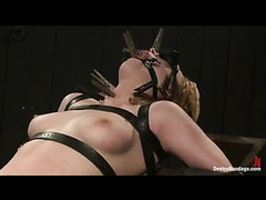 Lily LaBeau strapped and tortured on a revolving frame
