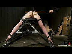 A helplessly restrained slut takes devious corporal punishment
