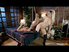 Two blonde dorm roommates try control sided lesbian BDSM
