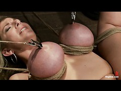 A big titted pornstar squirts in inescapable fuck me position
