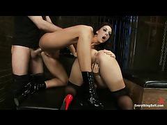 Two gorgeous sluts in latex enjoy heavy anal penetration
