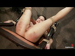 A slim whore overloaded with orgasms while tied to the chair