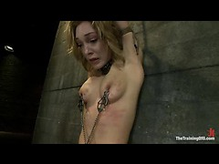 Lily LaBeau gets plugged and fucked in a tight sideways suspension