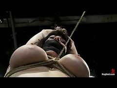 A hot MILF gets clothespins whipped off from her huge tits
