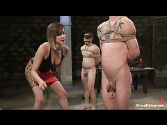 Maitresse Madeline gets three submissive male amateurs for slave review