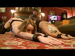 Two hot slaves in stockings punished for leaving mess on the floor