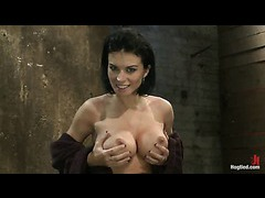 A lustful brunette cums and suffers in a severe box tie