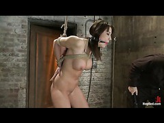 A stunning hottie overloaded with forced orgasms in tight bondage