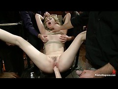 A fabulous slut loves being exploited by dozens of bulging dicks