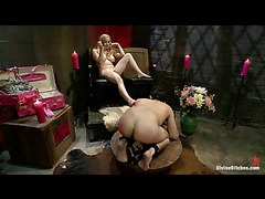 A male sub begins slave training with an imperious mistress