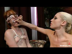 A sexy maid puts revenge on her landlady with rough lesbian domination