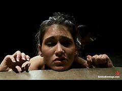 Jade Indica fighting the bondage and orgasms on the fucking machine