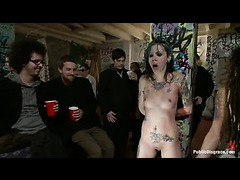 A tattooed slut abused and disgraced at the beer pong party