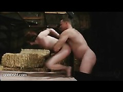 A sexy redhead playing out her fantasy of being bound and gang banged